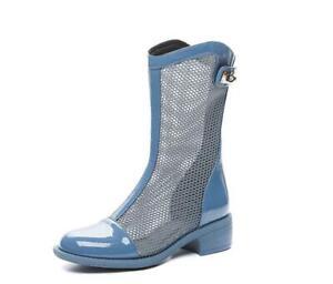 Women's Mid-Heel Hollow Short Boots Summer Mesh Breathable Roman Boots Short Tub