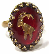 SoHo® Ring Sternzeichen Steinbock vintage altgold bronze bohemia oval 18/13 rot