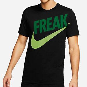 NIKE Giannis Antetokounmpo Greek Freak Swoosh Blk T Shirt BV8265 015 - Large New
