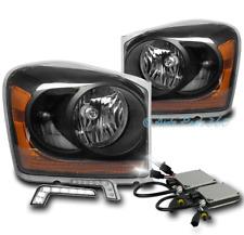 04-05 DODGE DURANGO SUV CRYSTAL HEADLIGHT LAMP BLACK W/DRL LED SIGNAL+XENON HID