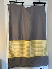 Land of Nod Gray Yellow White Stripes Lined Drapery 45X63 1 Panel Curtain Crate