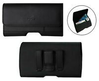 Leather Horizontal Belt Clip Case Holster W/ Credit Card Slot for Samsung Phones
