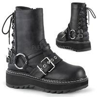 Demonia LILITH-210 Women's Black Vegan Leather Platform Rear Lace-Up Ankle Boots
