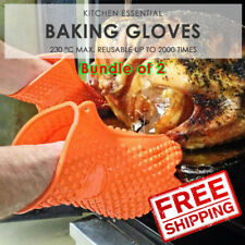 SOL Bundle of 2. Silicone Kitchenware Heat Resistant Gloves. 230° max. Reusable