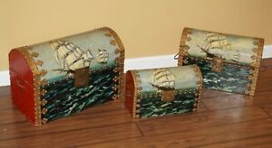 VINTAGE LOT of 3 Wooden Chest Trunk Hand Painted Ship Nautical Maritime Folk Art