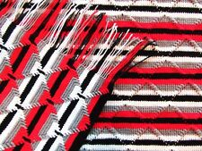 "Lg Crochet Afghan Blanket 94"" x 62"" Queen Full Twin Sofa Throw Red Black & Gray"