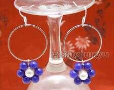 & 28mm metal Ring Dangle Earring-ear613 Sale Fashion Blue Jade and white pearl