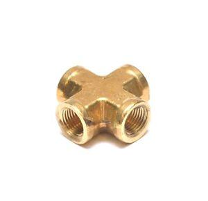 1/8 Female Npt 4 Way Cross Brass Pipe Fitting Vacuum Fuel Air Water Oil Gas