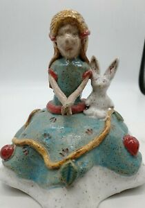 Vintage Hand Crafted Clay Pottery Girl with rabbit Sculpture glazed colorful
