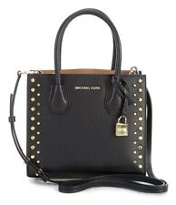 NEW MICHAEL KORS MERCER STUD GROMMET MD MESSENGER LEATHER BAG Black / Gold