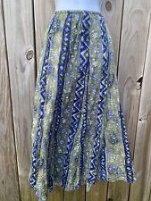 JM Collection Skirt 14 Batik Green Blue Lavender Midi Long Modest Elastic Waist