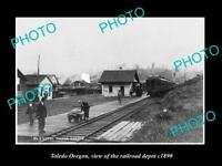 OLD LARGE HISTORIC PHOTO OF TOLEDO OREGON, THE RAILROAD DEPOT STATION c1890