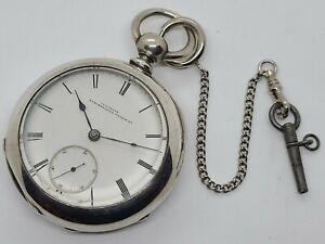 Antique 1875 ILLINOIS Key Wind Coin Silver 'US Civil War Era' Pocket Watch 18s