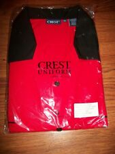 NIB Aramark Crest Uniform Short Sleeve XXL 2X Red Black Cotton/Poly Button Front