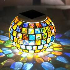 Mosaic Glass Outdoor Solar Power Ball Garden Stake Color Changing Lawn LED Light
