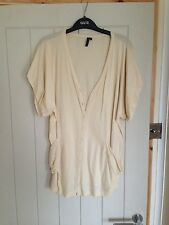 Topshop Batwing Cardigan Jumper 10/12 Cream Buttons Casual Autumn Winter Knit