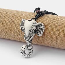 A Ethnic Tribal Yak Bone Powder Resin Carving Elephant Necklace Pendant 61x42mm