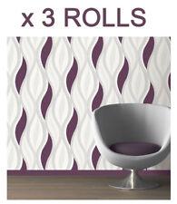 Purple Glitter Waves Wallpaper Textured Vinyl Silver White Feature x 3 Rolls