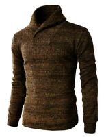 Mens CALI HOLI Muscle Fit Shawl Collar Pullover Sweater Brown 100