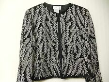 PAPELL BOUTIQUE EVENING TOP SILK BEADED & THREADED FEATHER SIZE MEDIUM