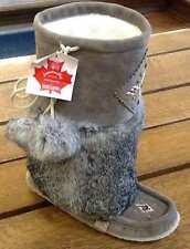 "Canadian-Made Rabbit Fur Mukluks, 985447 Charcoal 13"", Size 7"