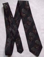 Vintage Tie MENS Necktie Retro 1980s BLACK GREEN by Folkespeare