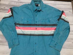 Vintage Wrangler Stripe Western Cowboy Button Up Shirt BrushPopper Faded! EUC