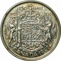 1947 Canada 50 Cents Straight 7 -Very Nice Choice AU/UNC Collector Coin!-d732shx