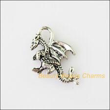 8Pcs Antiqued Silver Tone Animal Dinosaur Charms Pendants 15x21mm