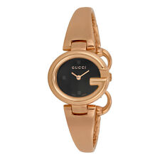 Gucci Guccissima Black Dial Rose Gold PVD Ladies Watch YA134509
