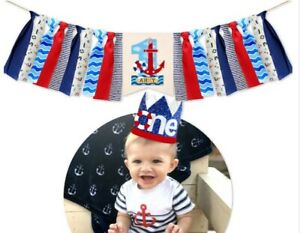 3Pcs Anchor Birthday One Party Crown Theme One High Chair Banner One Cake Topper