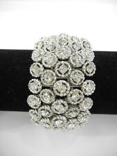 Bridal Prom Cocktail Party Silver Plated Glimmer Crystal Stretch Bracelet