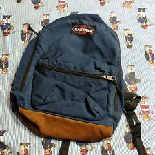 Vintage 90s Eastpak Backpack Dark Blue Suede Leather Bottom lightweight USA