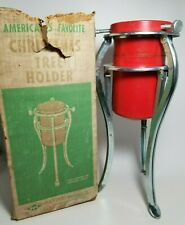"Vintage 4"" Christmas Tree Stand 3-Legged Aluminum Tripod Handy Things with Box"