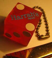 VINTAGE HARRAHS DIE SEMITRANSLUCENT RED HARRAHS RENO CASINO DIE KEYCHAIN