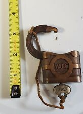 Vintage Yale  Brass Yale Padlock heavy with key