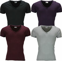 New Mens T Shirt Cotton Slim Fit Muscle Top Short Sleeve Plain Deep V Neck NWT