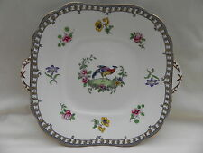 Aynsley ANTIQUE CAKE SANDWICH PLATE  A3357 Bird Pheasant or Peacock,1905-1910 A.