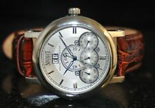 Men's Nicolet 1886 Automatic Chronograph Silver Dial Brown Genuine Leather Watch