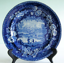 Historical Staffordshire TAMS & ANDERSON Blue Transferware CATHEDRAL Plate c1820