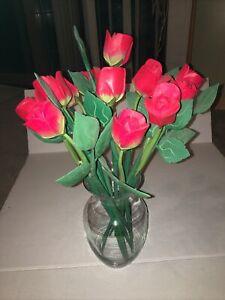 DOZEN Red WOODEN ROSE BUDS ARTIFICIAL FLOWERS