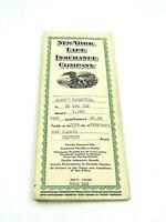 Vintage 1946 New York Life Insurance Company Insurance Policy