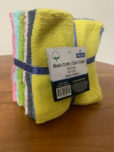 """WASHCLOTH / DISHCLOTHES 12""""x12"""" 6 PIECES PER PACK 100% COTTON Springfield Linen"""