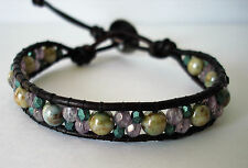 Beaded Leather Wrap Bracelet Czech Faceted Green Purple Boho Chic Handcrafted
