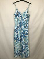 United Colour of Benetton ladies slip dress satin floral straps blue/white size
