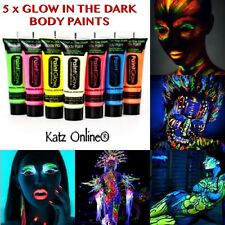 5 x Glow In The Dark Neon Face & Body Paint 10ml SET Fluorescent Halloween Party