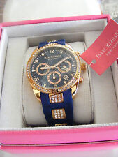 NEW!! ISAAC MIZRAHI NEW YORK BLUE SILICONE CRYSTAL ENCRUSTED BAND WATCH NIB