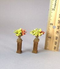 Dollhouse miniature HALF scale coleus in a resin urn on a resin pedestal (pair)