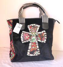 Black Faux Fur TOTE Red VINYL PAISLEY SPIRITUAL RHINESTONE CROSS large Hand  Bag 308ceb1b89f2f