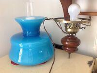 Vintage Hanging Hurricane Lamp Blue
